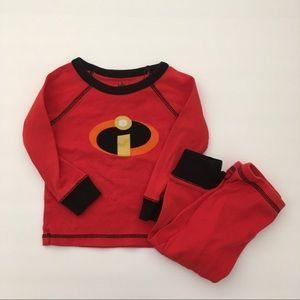 Disney Incredibles baby pajama set size 12-18m